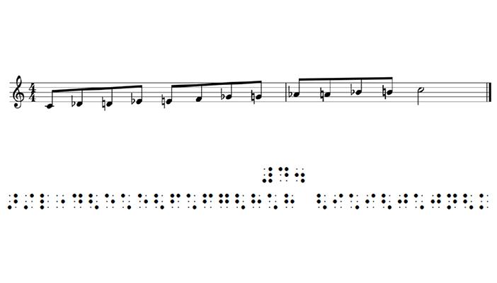 صورة لنوتة موسيقية مطبوعة بالخط العادي وبطريقة برايل